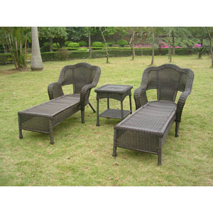 Resin Wicker Outdoor 3-Piece Chaise Lounge Set , Antique Black