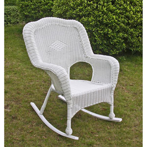 Camelback Resin Wicker Rocker, White