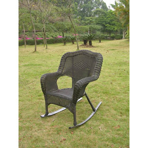 Resin Wicker Camel Back Rocking Chairs (Set of Two), Antique Black