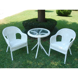 Maui White Bistro Set, Set of Three