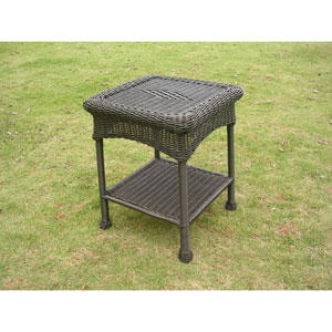 PVC Resin and Steel Outdoor Side Table, Antique Black
