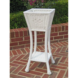 PVC Resin Square Two-Tier Plant Stand, White