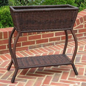 Resin Wicker Rectangular Plant Stand, Antique Pecan