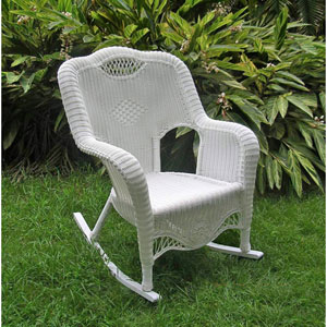 Resin Wicker Indoor/Outdoor Rocker, White