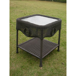 Wicker Glass Top Side Table, Antique Black