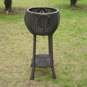 Round Resin Wicker Plant Stand, Antique Black