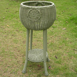 Round Resin Wicker Plant Stand, Antique Moss