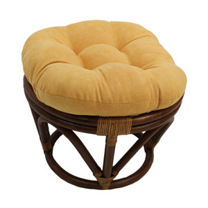 Rattan Ottoman with Micro Suede Cushion, Lemon