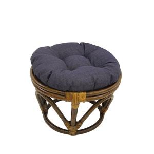 Rattan Ottoman with Outdoor Fabric Cushion, Azul