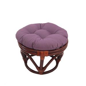 Rattan Footstool with Twill Cushion, Grape