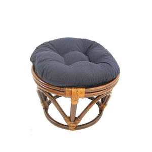 Rattan Footstool with Twill Cushion, Navy
