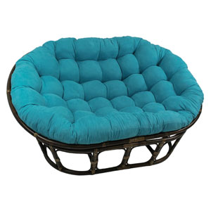 63x45-Inch Double Papasan with Micro Suede Cushion, Aqua Blue