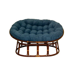 63x45-Inch Double Papasan with Micro Suede Cushion, Indigo