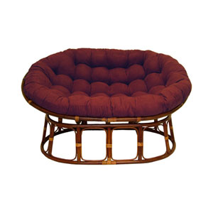 63x45-Inch Double Papasan with Micro Suede Cushion, Red Wine
