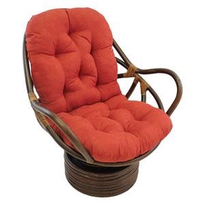 Rattan Swivel Rocker with Micro Suede Cushion, Cardinal Red