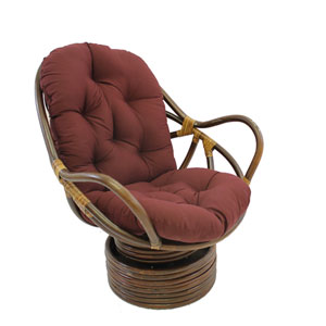 Swivel Rocker with Twill Cushion, Burgundy