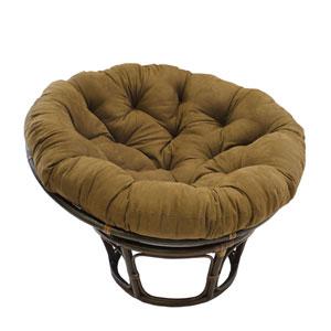 Rattan Chocolate Papasan Chair with Micro Suede Cushion