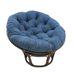 Rattan Indigo Papasan Chair with Micro Suede Cushion