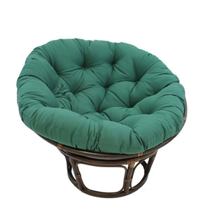 Rattan Forest Green Papasan Chair with Solid Twill Cushion