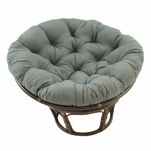 Rattan Grey Papasan Chair with Solid Twill Cushion