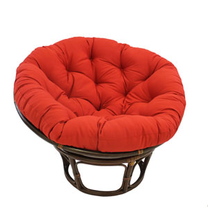 Rattan Ruby Red Papasan Chair with Solid Twill Cushion