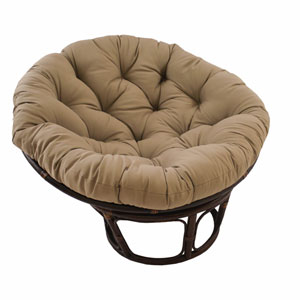 Rattan Toffee Papasan Chair with Solid Twill Cushion