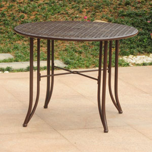 Mandalay Iron Outdoor 39-inch Dining Table, Rustic Brown