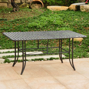 Mandalay Iron Outdoor 60-inch Dining Table, Antique Black