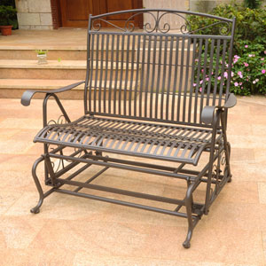 Mandalay Double Iron Glider, Rustic Brown