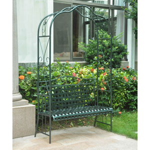 Mandalay Iron Arbor Bench, Verdi Green