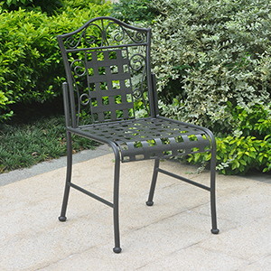 Mandalay Antique Black Patio Bistro Chairs, Set of Two