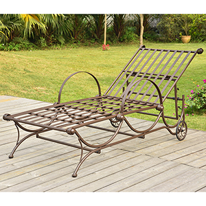 Mandalay Rustic Brown Single Multi-Position Chaise Lounge