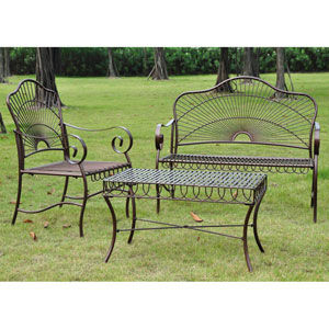 Set of Three Sun Ray Iron Settee Group