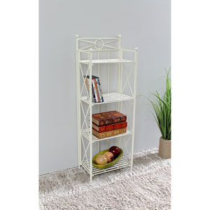 Narrow 4-Tier Iron Folding Bakers Rack, White Wash