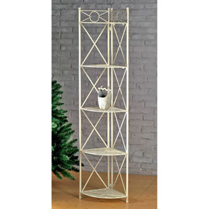 Mandalay White Wash Five Tier Corner Shelf