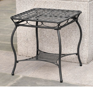Santa Fe Antique Black Iron Nailhead Side Table