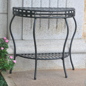 Santa Fe Antique Black Iron Nailhead Two-Tier Half Moon Table