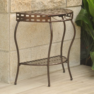 Santa Fe Bronze Iron Nailhead Two-Tier Half Moon Table
