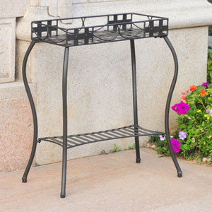 Santa Fe Antique Black Iron Nailhead Rectangular Plant Stand