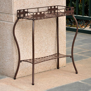 Santa Fe Iron Nailhead Rectangular Plant Stand, Rustic Brown