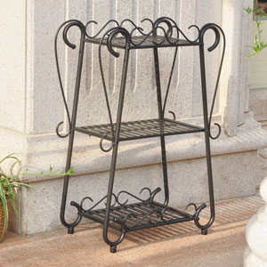 Santa Fe Iron Nailhead 3-Tier Plant/Utility Shelf