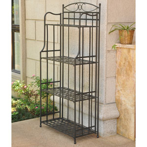 Santa Fe Nailhead 4-Tier Bakers Rack, Antique Black