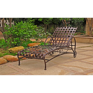 Santa Fe Bronze Nailhead Single Multi Position Chaise Lounge
