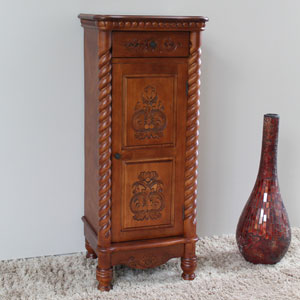 Carved Wood 1 Drawer/1 Door Tall Cabinet, Brown Stain