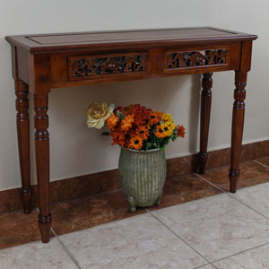 Carved Two Drawer Table