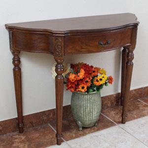 Carved Wood Half Moon Table