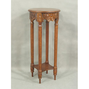 Carved Round Tall Plant Table