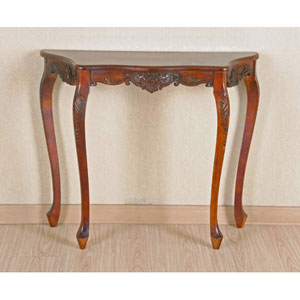 Carved Four Leg Scalloped Wall Table