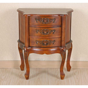 Carved Wood Three Drawer Scalloped Night Stand