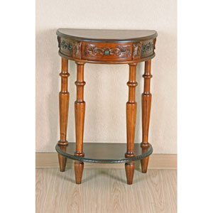 Carved Small Half Moon 2-Tier Wall Table